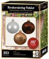 Complete luxe versiering set wit champagne mahonie bruin voor 180 cm kerstboom kerstversiering