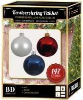 Complete luxe versiering set wit donkerblauw rood voor 180 cm kerstboom kerstversiering