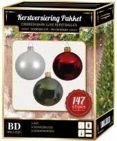 Complete luxe versiering set wit donkergroen donkerrood voor 180 cm kerstboom kerstversiering