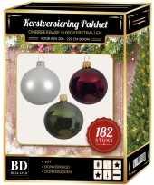 Complete luxe versiering set wit donkergroen donkerrood voor 210 cm kerstboom kerstversiering