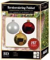 Complete luxe versiering set wit goud rood voor 180 cm kerstboom kerstversiering