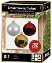 Complete luxe versiering set wit goud rood voor 210 cm kerstboom kerstversiering