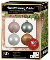 Complete luxe versiering set wit lichtroze mintgroen champagne voor 150 cm kerstboom kerstversiering