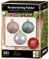 Complete luxe versiering set wit lichtroze mintgroen voor 180 cm kerstboom kerstversiering