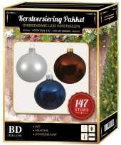 Complete luxe versiering set wit mahonie donkerblauw voor 180 cm kerstboom kerstversiering
