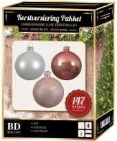Complete luxe versiering set wit oud roze lichtroze voor 180 cm kerstboom kerstversiering