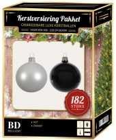 Complete luxe versiering set wit zwart voor 210 cm kerstboom kerstversiering