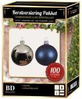 Complete luxe versiering set zilver donkerblauw voor 150 cm kerstboom kerstversiering