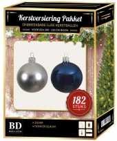 Complete luxe versiering set zilver donkerblauw voor 210 cm kerstboom kerstversiering