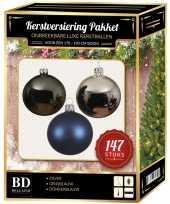Complete luxe versiering set zilver grijsblauw donkerblauw voor 180 cm kerstboom kerstversiering
