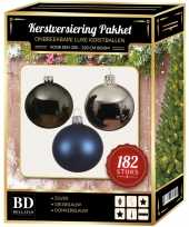 Complete luxe versiering set zilver grijsblauw donkerblauw voor 210 cm kerstboom kerstversiering