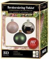 Complete luxe versiering set zilver lichtroze dennengroen voor 180 cm kerstboom kerstversiering