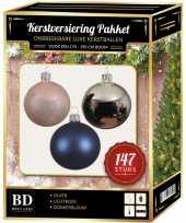 Complete luxe versiering set zilver lichtroze donkerblauw voor 180 cm kerstboom kerstversiering