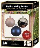 Complete luxe versiering set zilver lichtroze donkerblauw voor 210 cm kerstboom kerstversiering