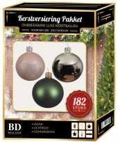 Complete luxe versiering set zilver lichtroze donkergroen voor 210 cm kerstboom kerstversiering
