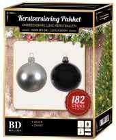 Complete luxe versiering set zilver zwart voor 210 cm kerstboom kerstversiering