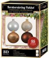 Complete versiering set champagne wit bruin voor 150 cm kerstboom kerstversiering