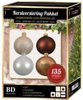 Complete versiering set champagne wit bruin voor 180 cm kerstboom kerstversiering
