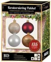 Complete versiering set champagne wit donkerrood voor 180 cm kerstboom kerstversiering