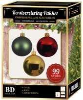 Complete versiering set goud donkergroen rood voor 150 cm kerstboom kerstversiering