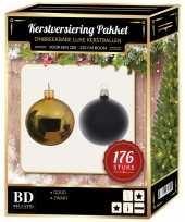 Complete versiering set goud met zwart voor 210 cm kerstboom kerstversiering