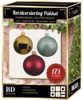 Complete versiering set goud mintgroen donkerrood voor 210 cm kerstboom kerstversiering