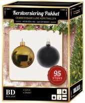Complete versiering set goud zwart voor 150 cm kerstboom kerstversiering
