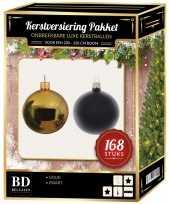 Complete versiering set goud zwart voor 210 cm kerstboom kerstversiering