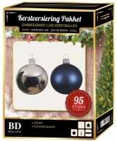 Complete versiering set kleur zilver donkerblauw voor 150 cm kerstboom kerstversiering