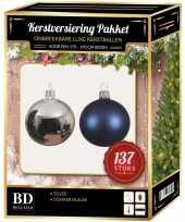 Complete versiering set kleur zilver donkerblauw voor 180 cm kerstboom kerstversiering
