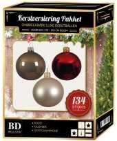 Complete versiering set licht champagne donkergroen mahonie bruin voor 180 cm kerstboom kerstversiering
