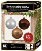 Complete versiering set wit champagne mahonie bruin voor 210 cm kerstboom kerstversiering