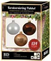 Complete versiering set wit donker champagne mahonie bruin voor 180 cm kerstboom kerstversiering
