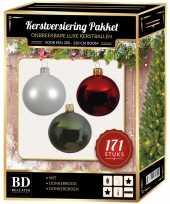Complete versiering set wit donkergroen donkerrood voor 210 cm kerstboom kerstversiering