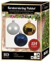 Complete versiering set wit goud donkerblauw voor 180 cm kerstboom kerstversiering