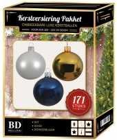 Complete versiering set wit goud donkerblauw voor 210 cm kerstboom kerstversiering