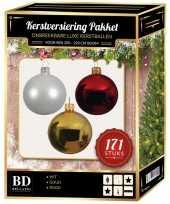 Complete versiering set wit goud rood voor 210 cm kerstboom kerstversiering
