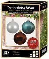 Complete versiering set wit ijsblauw mahonie bruin voor 180 cm kerstboom kerstversiering
