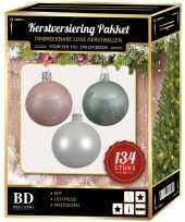 Complete versiering set wit lichtroze mintgroen voor 180 cm kerstboom kerstversiering