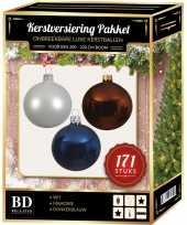 Complete versiering set wit mahonie bruin donkerblauw voor 210 cm kerstboom kerstversiering