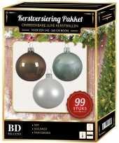 Complete versiering set wit mintgroen kasjmier bruin voor 150 cm kerstboom kerstversiering