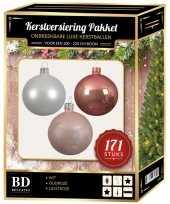 Complete versiering set wit oud roze lichtroze voor 210 cm kerstboom kerstversiering