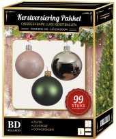 Complete versiering set zilver lichtroze donkergroen voor 150 cm kerstboom kerstversiering