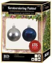 Complete versiering set zilver met donkerblauw voor 210 cm kerstboom kerstversiering