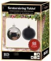 Complete versiering set zilver zwart voor 150 cm kerstboom kerstversiering