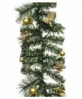 Groene kerst dennenslinger guirlande met gouden versiering 180 c kerstversiering