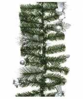 Groene kerst dennenslinger guirlande met zilveren versiering 180 kerstversiering