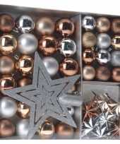 Kerst decoratie set 45 delig brons zilver goud royal classics kerstversiering