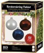 Kerstballen met piek set wit bruin donkerblauw voor 150 cm kerstboom kerstversiering