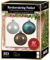 Kerstballen met piek set wit bruin ijsblauw voor 150 cm kerstboom kerstversiering 10157042